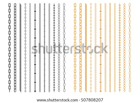Metal chainlets with variety chain links. Gold, silver, stainless steel necklaces vector illustration isolated on white background. Jewelry from precious metals. For jewelry store ad, fashion concept ストックフォト ©