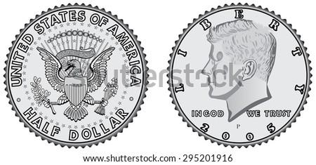 metal coins   half dollar set