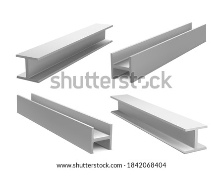 Metal construction beams, steel structure girders isolated on white background. Vector realistic set of iron joist for building, stainless structural profile. 3d illustration of strong i-beams Foto stock ©
