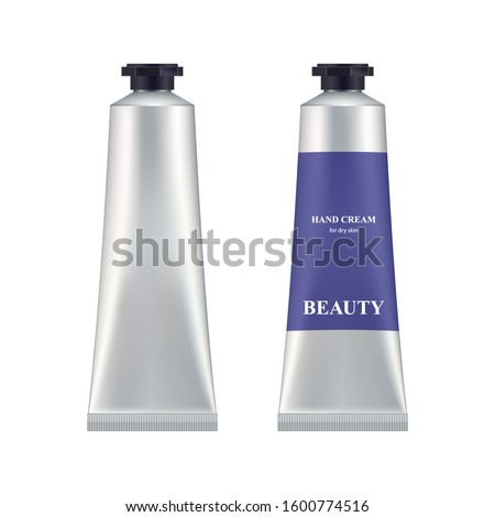 Metal cosmetic tube. 3d realistik aluminium container with black plastik cap for cream, paste, gel. Makeup package blank template for branding and ad.