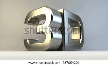 Metal 3D logo isolated on white background with reflection effect. Vector illustration.