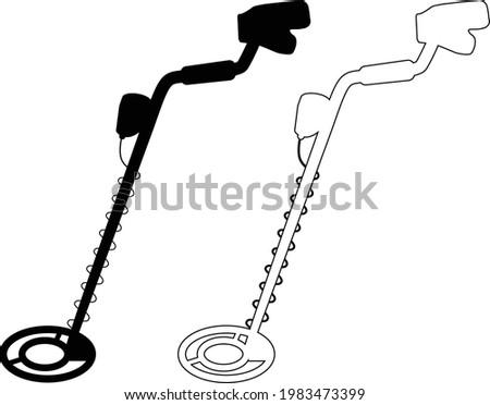 metal detector icon on white background. treasure hunt sign. metal detector treasure symbol. flat style. Stockfoto ©