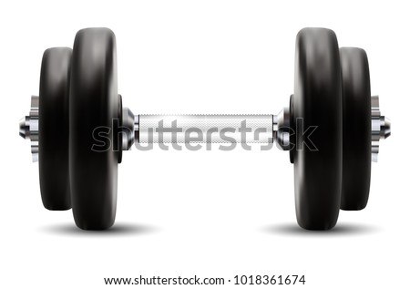 Metal dumbbell isolated on white background. Vector illustration.