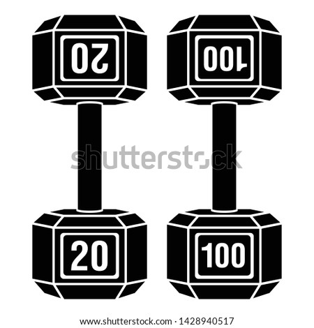 Metal dumbbell weight set vector icon illustration graphic