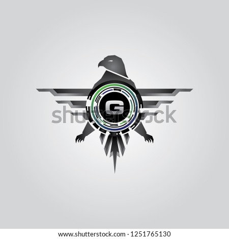 Metal Eagle Geometric G Letter Logo
