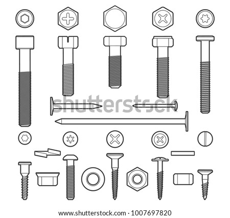 Metal fasteners line vector. Linear screws, nuts and bolts isolated on white background