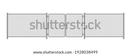 Metal fence panels with welded wire mesh in realistic style. Gate steel chain link template. Protective guard outdoor netting. Vector illustration isolated on white background. Photo stock ©