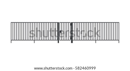 metal fence with gate in flat