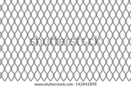 Metal fencing mesh over white background, vector illustration