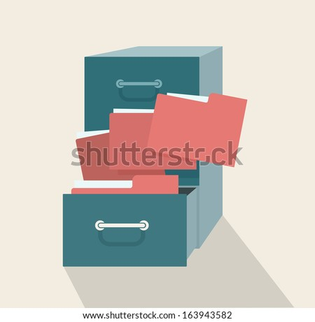 Metal filling cabinet with red folders. Illustrated concept of database organizing and maintaining.