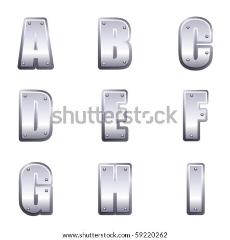 Metal font type A to I