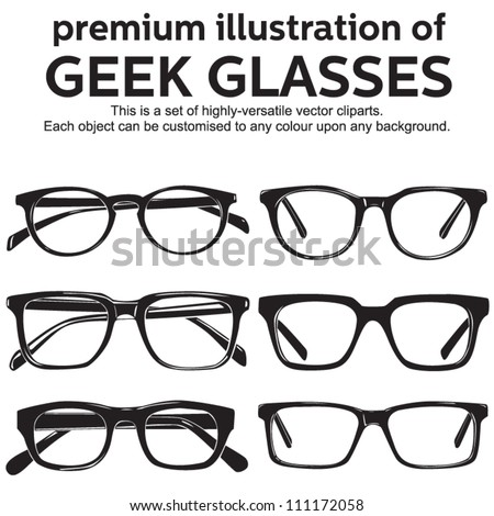 metal framed geek glasses vintage style clipart