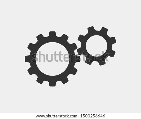 Metal gears and cogs vector. Gear icon flat design. Mechanism wheels logo. Cogwheel concept template.