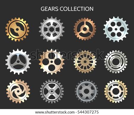 Metal gears vector illustration. Metallic clock cogwheels isolated on black background
