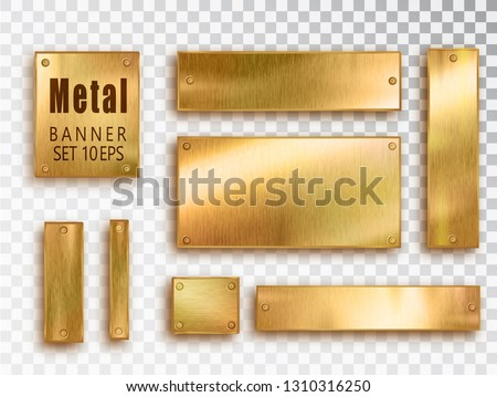 Metal gold banners set realistic. Vector Metal brushed plates with a place for inscriptions isolated on transparent background. Realistic 3D design. Stainless steel background