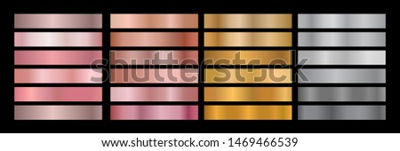 Metal Gradient Collection of Rose Gold, Golden and Silver Swatches
