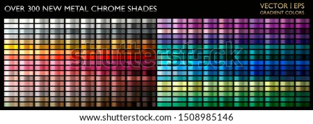 Metal gradient. Color set. Metallic collection. Gold, silver, pearl, bronze palette. Color collection. Steel, iron, aluminium, tin. Holographic background. Chrome texture. Chromium polish effect.