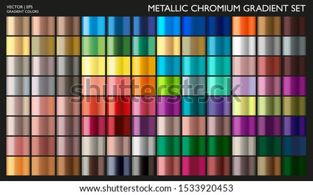 Metal Gradient. Gradient Set. Vector. Metallic Gold Color Collection. Pearl Effect. Gold, Silver, Bronze Palette. Steel, Iron, Aluminium, Tin. Holographic Background. Chrome Texture. Chromium Polish.