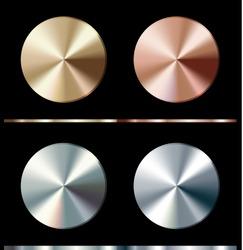 Metal gradient template. Gold, silver, bronze, platinum, steel, chrome round surface, vector illustration