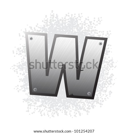 Metal grunge alphabet with bolts and scratches. Letter W. - stock vector