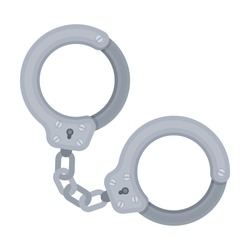 Metal handcuffs for detaining criminals. Outfit of a policeman.Prison single icon in cartoon style vector symbol stock illustration.
