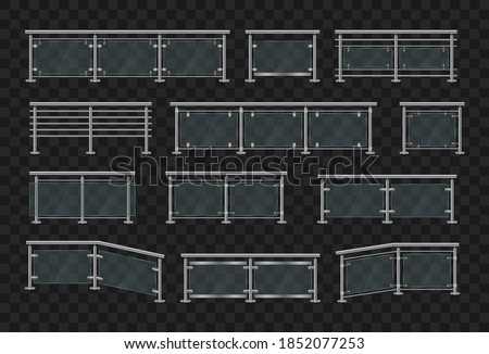Metal handrails. Section of glass fences with metal tubular railing and transparent sheets for home stairways, house balcony. Glass balustrade with iron banister front and angle view. Vector. Foto stock ©