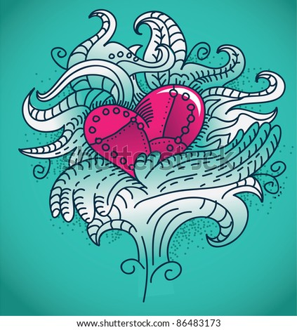 metal heart tattoo - vector illustration