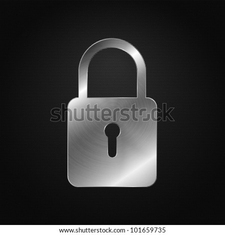 Metal icon - padlock - stock vector