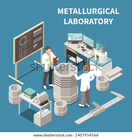 Metal industry isometric composition with two people in metallurgical laboratory 3d vector illustration