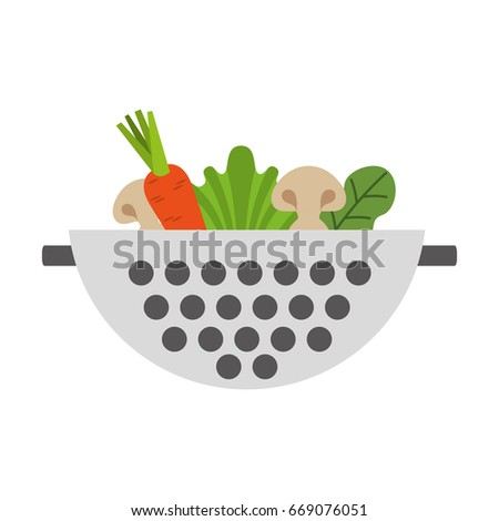 Metal kitchen strainer with vegetables #669076051