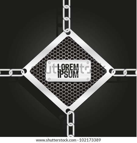metal label, hung with chains of links, vector illustration