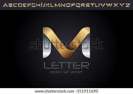 metal m letter logo  alphabet