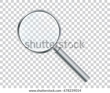 Metal magnifier on a transparent background. Vector illustration.