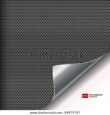 Metal mesh background with sixangled holes and curved corner.