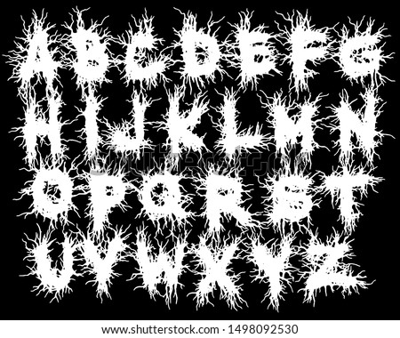 Metal music band's font.White typeset on black background.