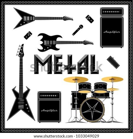 metal music set vector