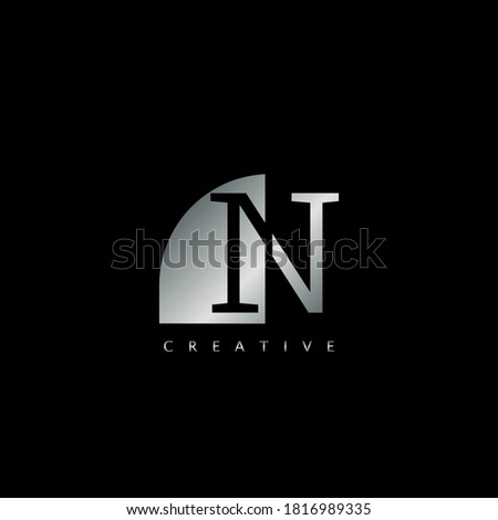 Metal N Letter Logo Illustration Template. Abstract techno half negative space style. Foto stock ©