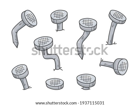 Metal old rust bent nail vector, cartoon gray pin icon. Carpentry concept isolated on white background. Abstract illustration Stock fotó ©