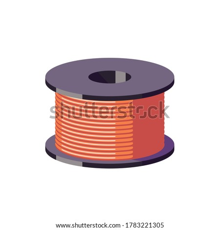 Metal orange wire in a spool. Coils with a orange cord. Vector cartoon flat illustration isolated on white background. Сток-фото ©