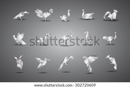 metal origami birds set