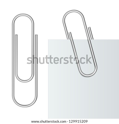 Metal paper clip and paper isolated on white background. Vector Illustration