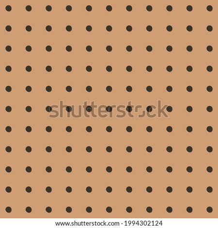 Metal Peg board perforated texture background material with round holes seamless pattern board vector illustration. Wall structure for working bench tools. Stock photo ©