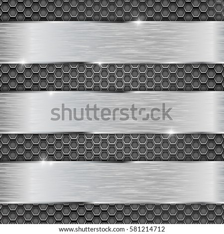 Metal perforated background with metal plates. Vector 3d illustration.