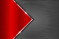 Metal perforated background with red steel plate. Diamond shape holes. Vector 3d illustration