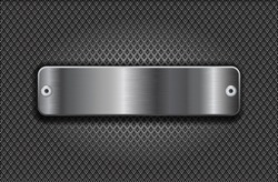 Metal perforated background with stainless steel long button with rivets. Vector 3d illustration.