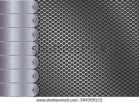 Metal perforated background with steel screwed plates. Vector 3d illustration