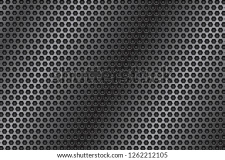 Metal perforated 3d texture. Vector illustration