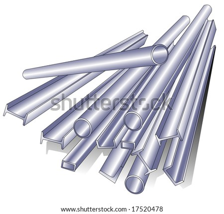 Metal pipe, rod, channel, isolated object on white background