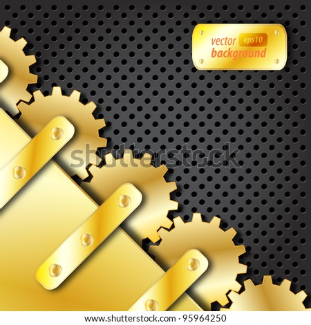 Metal plate and gold gears vector - stock vector