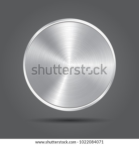 Metal plate icons. Silver badge medal. Vector app background